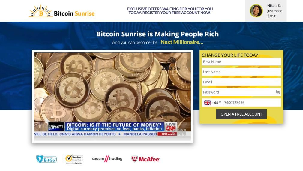 Bitcoin Sunrise Review