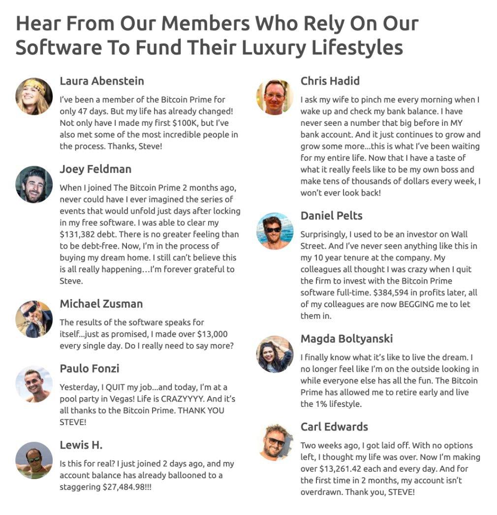 Bitcoin Prime Review members