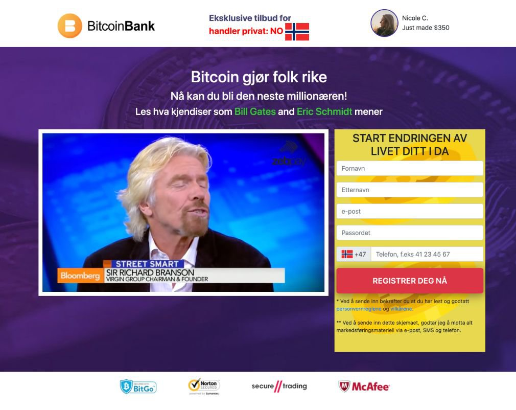 Crypto Bank Svindel